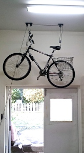 Bike on ceiling of studio wall