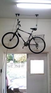 Bike on ceiling of studio wall