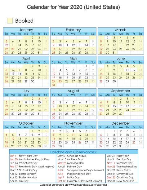 Year 2020 Calendar – United States - 4