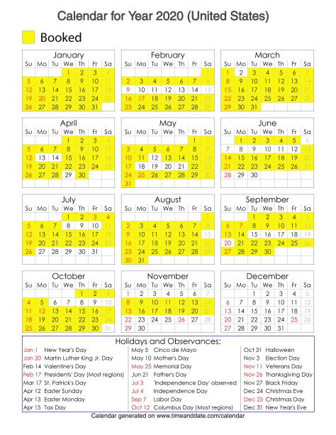 Year 2020 Calendar – United States 7