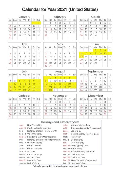Year 2021 Calendar – United States 1