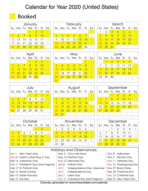 Year 2020 Calendar – United States 13