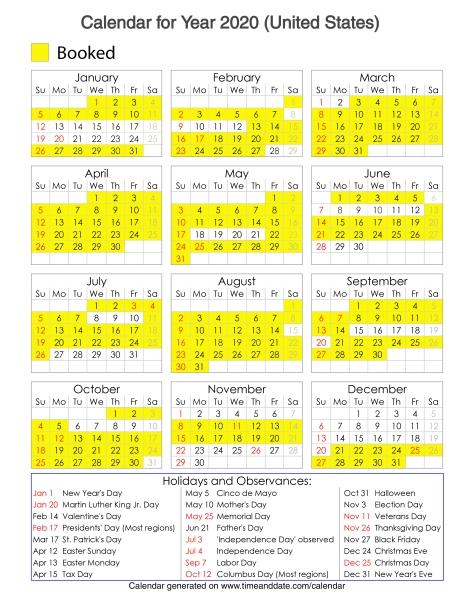 Year 2020 Calendar – United States 14