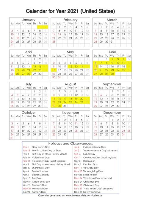 Year 2021 Calendar – United States 2