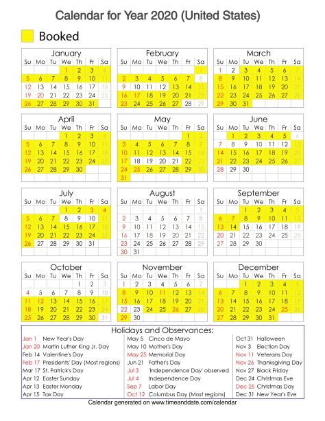 Year 2020 Calendar – United States 17