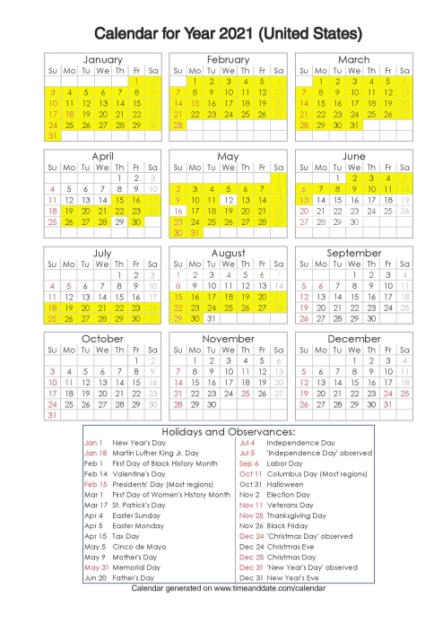 Year 2021 Calendar – United States 7