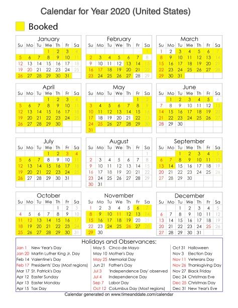 Year 2020 Calendar – United States 19
