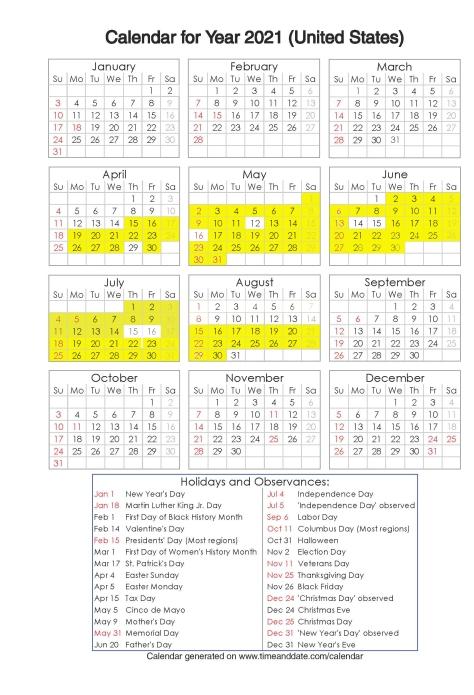 Year 2021 Calendar – United States 13