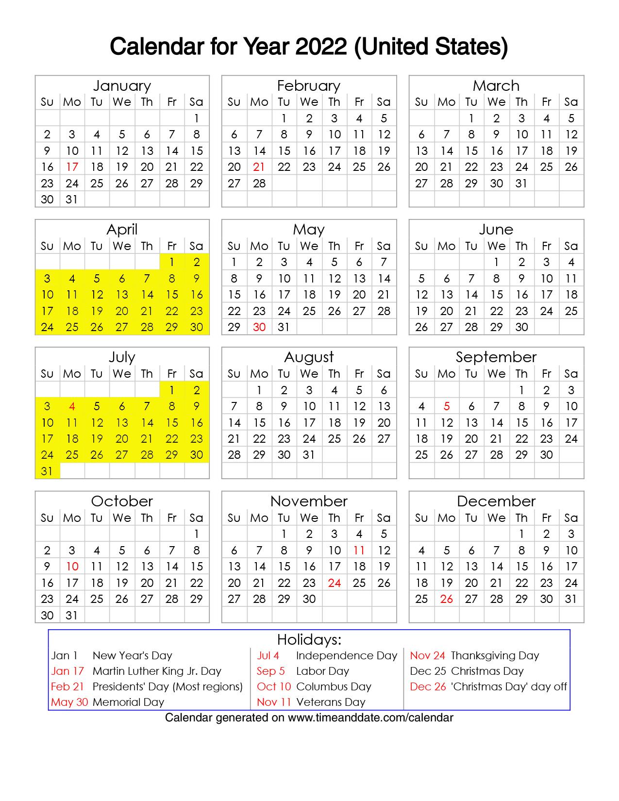 Year 2022 Calendar – United States 02