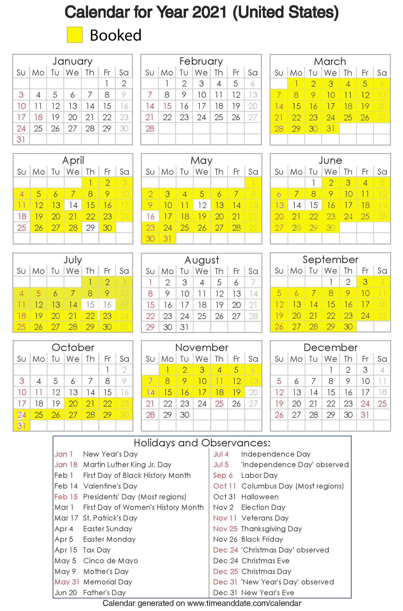 Year 2021 Calendar – United States 18