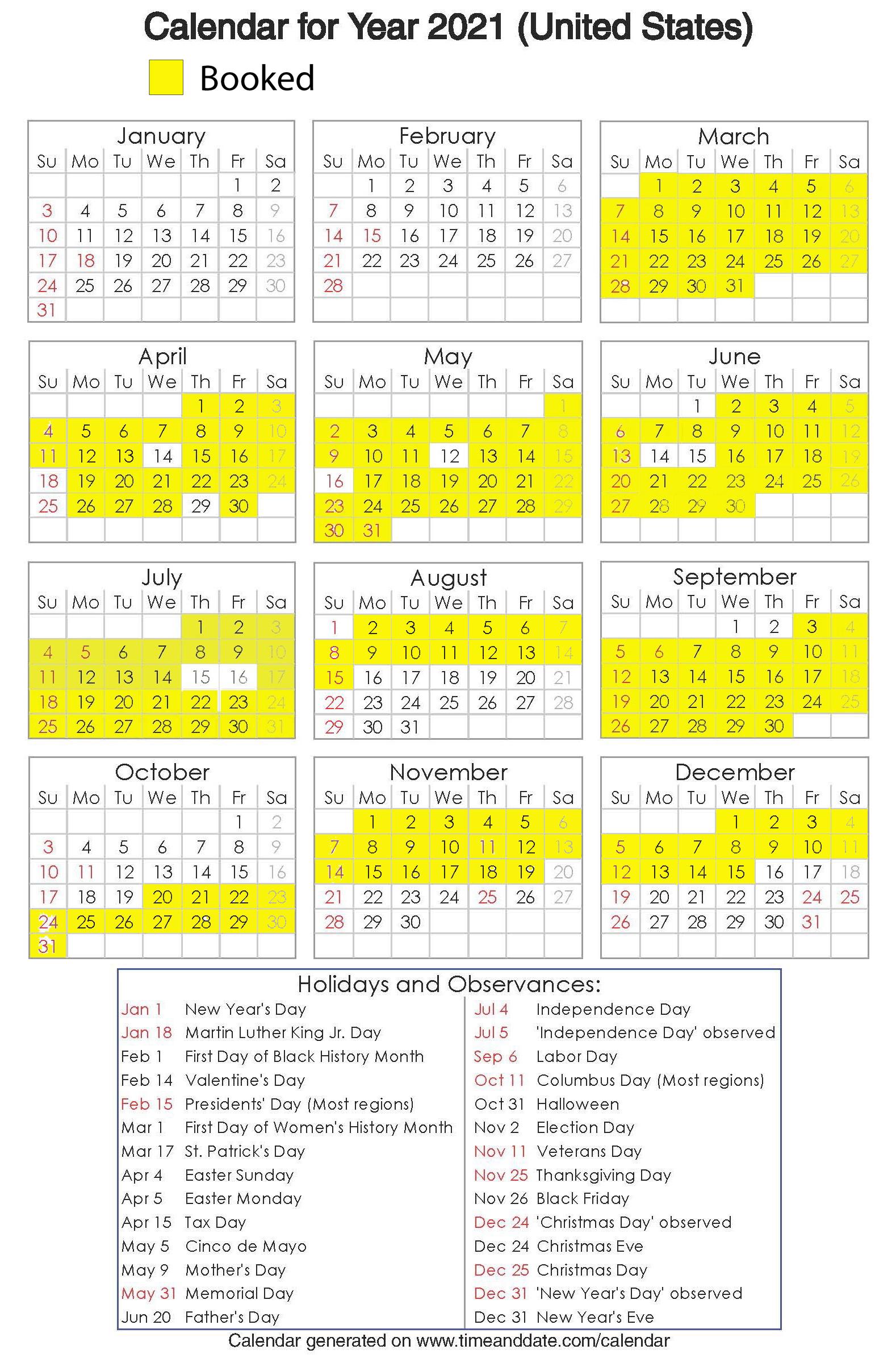 Year 2021 Calendar – United States 19